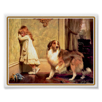 Poster: Girl with Pet Sheltie Poster