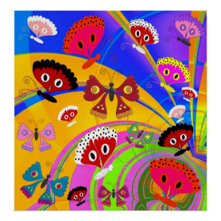 Poster Girls Kid's Butterfly Collage