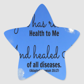 poster God has restored health to me Star Sticker
