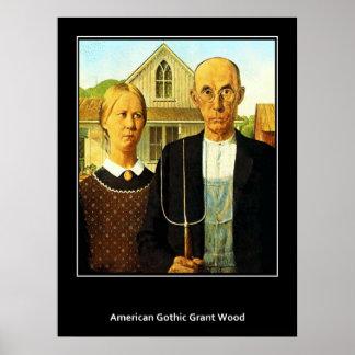 Poster gótico americano del vintage de Grant Wood