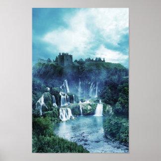 Poster gótico de la cascada de la ruina