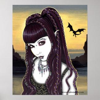 Poster gótico de la diosa del dragón de Katana