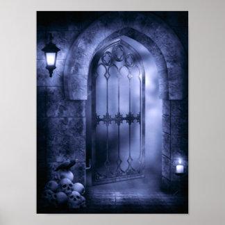 Poster gótico de la puerta del cuervo