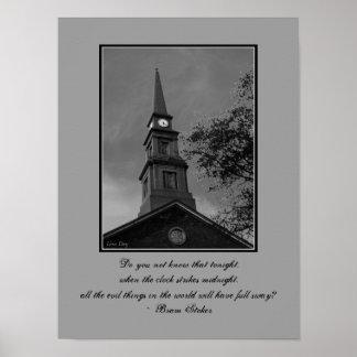 """Poster gótico de Quotables """"del reloj de la torre"""""""