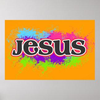 """Poster gráfico estático de neón de """"Jesús"""""""