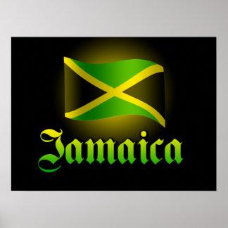 Poster grande de la bandera de Jamaica, negro con