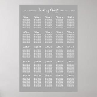 Poster grande de la carta del asiento del boda de