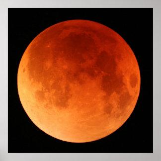 Poster grande de la luna del rojo del eclipse luna