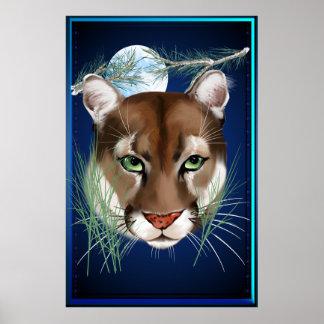 Poster grande de medianoche del león de montaña