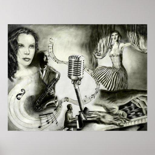 Poster grande del arte del jazz