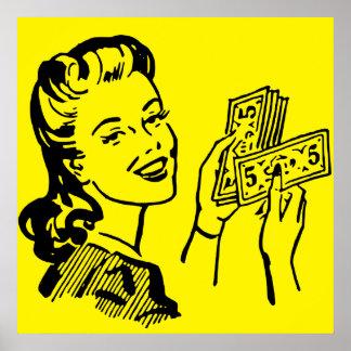 Poster grande del arte pop del chica del dinero