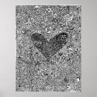 """Poster GRANDE del """"corazón y de los símbolos"""""""