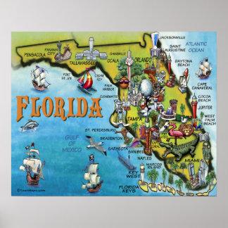 Poster grande del mapa del dibujo animado de la Fl