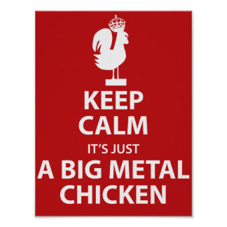 Poster grande del pollo del metal póster