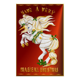 Poster grande del unicornio del navidad