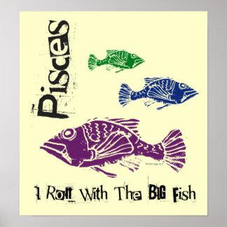 Poster grande del zodiaco de los pescados de Pisci