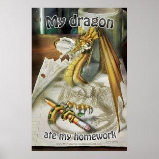 Poster grande - mi dragón comió mi preparación + T Póster