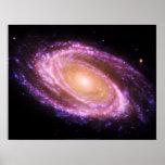 Poster grande rosado de la galaxia espiral