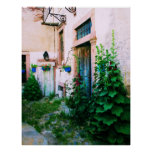 POSTER  Greek garden -  Hollyhocks and blue doors