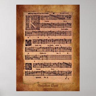 Poster gregoriano antiguo del arte de la partitura