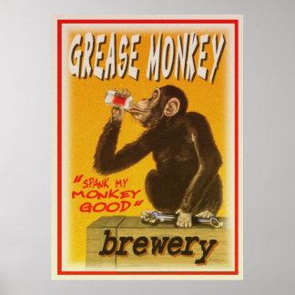 poster grese de la cervecería del mono