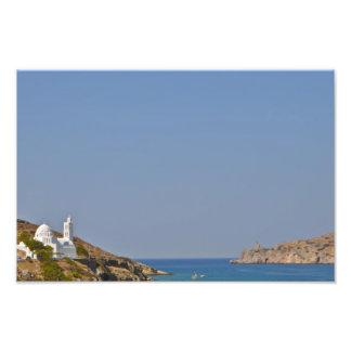 Poster griego de la iglesia de la isla impresiones fotográficas