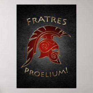 Poster griego del rojo del guerrero de la batalla
