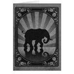 Poster gris de la silueta del elefante del vintage tarjetón