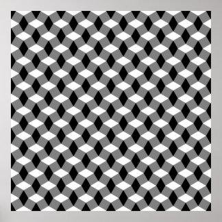 Poster gris/del negro/blanco del modelo ondulado