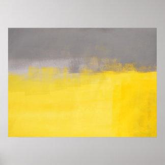Poster gris y amarillo del arte abstracto