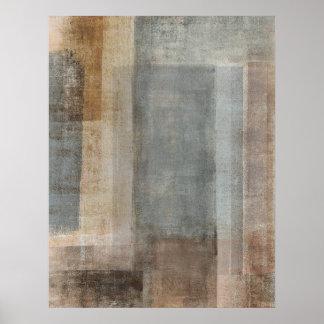 Poster gris y beige del arte abstracto