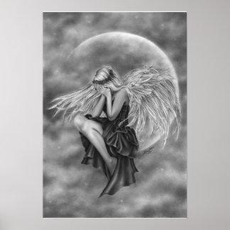 Poster gritador del ángel de la luna