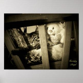 Poster gruñón del gato del ángel y del oso de