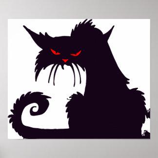Poster gruñón del gato negro