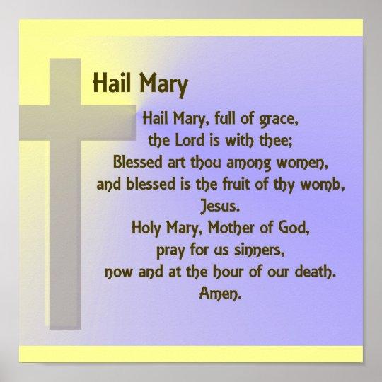 Poster Hail Mary Prayer Poster Zazzle Com