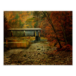 Poster-Halls Mills Covered Bridge Side View