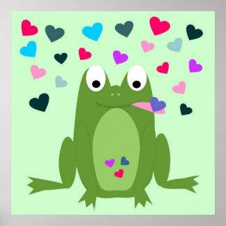 Poster hambriento de la rana del amor