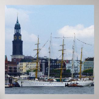 Poster Hamburg Harbor Hafen Michel Schiffe