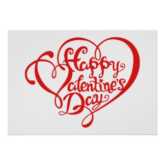 Poster Happy Valentine's day with red hearts