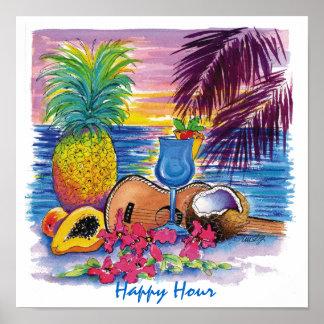 Poster hawaiano de la hora feliz