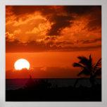 Poster hawaiano de la puesta del sol
