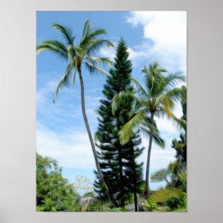 Poster hawaiano de las palmas