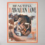 Poster hawaiano del amor