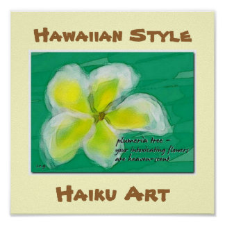 Poster hawaiano del arte del Haiku del Plumeria de