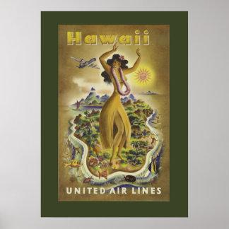 Poster hawaiano del viaje del vintage