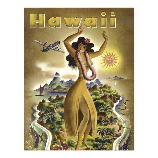 Poster hawaiano del viaje del vintage plantillas de membrete