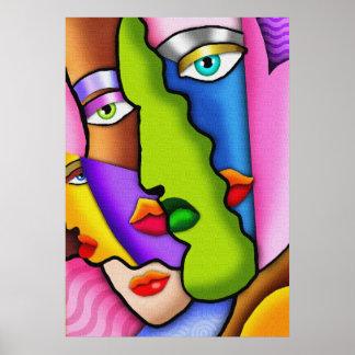 Poster hermoso abstracto de las caras de Deco
