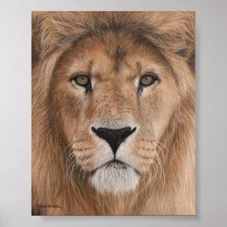 Poster hermoso de la cabeza del león