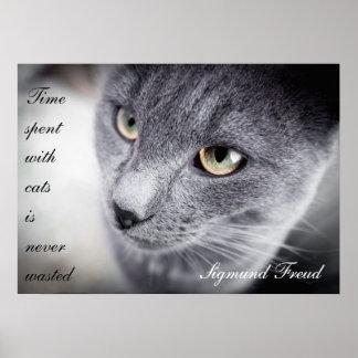 Poster hermoso de la cita del gato - de motivación