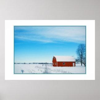 Poster hermoso de la granja del invierno